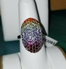 Chuck Clemency NYCII Sterling silver Exotic Rainbow of color multi Gemstone Ring
