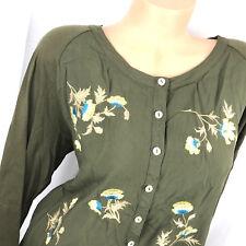 J. JILL Size XL Embroidered Front Blouse Button Down Shirt Green Art to Wear cf