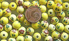 10 perles PORCELAINE rondes 8mm motif fleur DIY création bijoux JAUNE