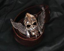Punk Tin Alloy Viking Warrior Helmet Men Belt Buckles Cowhide Genuine Leather