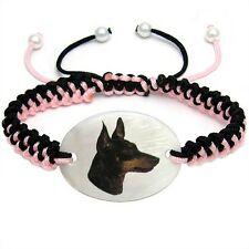 Manchester Terrier Mother Of Pearl Natural Shell Adjustable Knot Bracelet Bs109