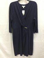 Charter Club Knit 3/4 Sleeve Dot Crossover Dress Blue PXL