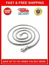 """Men's Genuine 316L Stainless Steel Round Snake Link Chain Necklace (24"""")"""