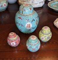 Antique Mun Shou Porcelain - Famille Jaune, Verte & Rose - Ginger Jar set - Wow!