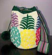 Authentic 100% Wayuu Mochila Colombian Bag Medium Size Tapestry Pineapple Pom