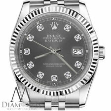 Rolex 31mm Dark Grey Datejust Diamond 18K White Gold & Stainless Steel Watch