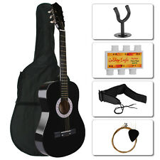 """Beginners 39.3"""" Acoustic Guitar with Case, Strap, Tuner and Pick + Guitar Hanger"""