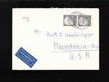 Germany 50p Heuss Vertical Pair 1953 Lippstadt Air Etiquette Cover to USA 4t