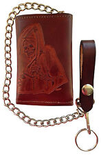New Grim Reaper Leather Trifold Motorcycle, Trucker, Biker Chain Wallet USA Made