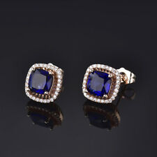 HUCHE 18K Yellow Gold Filled Blue Sapphire Gemstone Lady Wedding Party Earrings