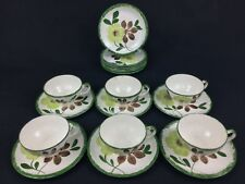Blue Ridge Potteries Green Briar 18-Piece Lot Bread Plates Cups Saucers Brown
