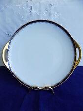 HAVILAND LIMOGES FOR BOOTHS COBALT BLUE / GOLD CAKE / SANDWICH PLATE c1894-1931