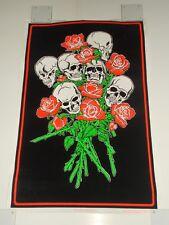 "Vintage 1996 SKULL & ROSES Black Light Poster Flocked 23"" x 35"" RARE Deadhead"