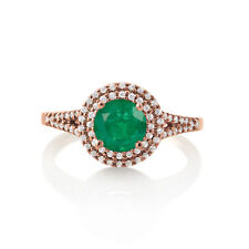 Women's Round Cut Emerald May Birthstone Promise Halo Ring In 14K Rose Gold Fn