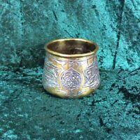 Antique Qajar Brass Damascus Pot with Inlaid Silver Islamic Nasta Liq Script