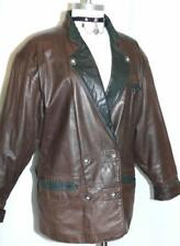 LEATHER  ~ BROWN Women German Winter Hunting Ranch Western JACKET Coat / 12 M