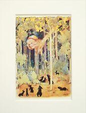 Alice in Wonderland - Margaret Tarrant - c. 1920 Mounted Antique Print 19