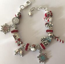 ❤️CHRISTMAS BRACELET Fancy European CHARM BEADS 🎄 w/ Silver Plated Chain❤️