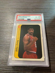 1986 87 Fleer Julius Erving Card #5 PSA 6 EX-MT Sticker