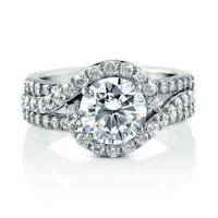 BERRICLE Sterling Silver Round Cubic Zirconia CZ Halo Engagement Ring 2.92 CTW
