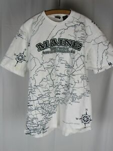 Vtg 90s Maine All Over Road Map Print T Shirt USA Made Sz Large State of Mine