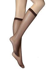 2 Pairs Womens Ladies Light brown Plain Knee High Nylon Socks 30 DENIER One size