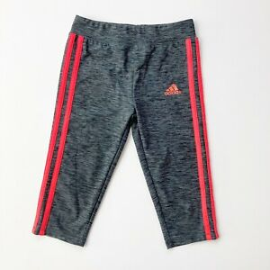 ADIDAS Girls Size 6x Charcoal Gray Athletic Cropped Leggings