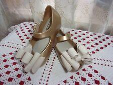 Mini Melissa Ultragirl sweet Mary Jane gold shoes big bow peep toes sz 6 Vguc