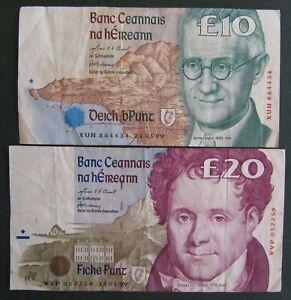 Ireland set of £10 & £20 Notes both 1999