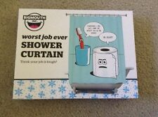 New Big Mouth Inc. Worst Job Ever Shower Curtain Toothbrush And Toilet Paper