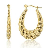 """1"""" Oval Shiny Polished Graduated Twisted Hoop Earrings Real 14K Yellow Gold"""