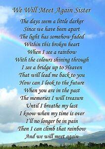 We Will Meet Again Sister Memorial Graveside Poem Card & Free Ground Stake F135