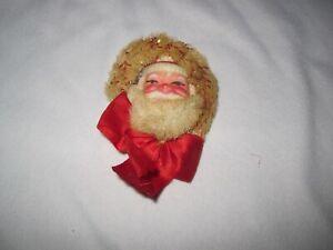 Vintage Santa Face Pin with Bow