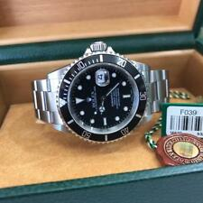 Rolex 16610 Submariner Black Dial Watch Box Papers Tags F Series No Hole Case