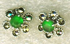 "925 Sterling Silver Emerald Agate & Marcasite Flower Small Stud Earrings 1/3"" Di"