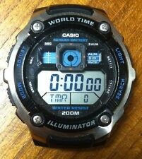 CASIO Digital Men's Watch World Time Illuminator AE-2000W Water Resistant *USED*