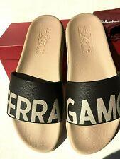 "Mens Authentic Salvatore Ferragamo ""Amos"" Slides Sandals Sand/Brown US Size 9"