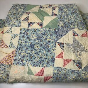 vintage hand sewn quilt coverlet full queen bow tie blue floral reversible 70x84