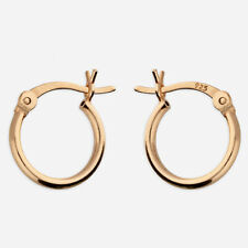 Rose Gold-Plated 925 Sterling Silver 11mm French Lock Hoop Sleeper Earrings