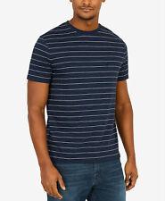 b765e745e8 Nautica Mens Blue White Stripe Cotton Logo T-shirt Crew-neck Short-sleeve