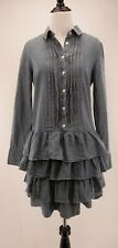 J Crew 2 Denim Chambray Blue Jean Button Down Ruffled Tiered Pleated Shirt Dress