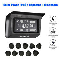 Solar TPMS Tyre Pressure Monitoring System 10 Sensor w/ Repeater For Trailer Bus