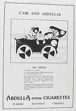 OLD VINTAGE ADVERT ART DECO ABDULLA CIGARETTES c1928 by FISH THE CRECHE CAR