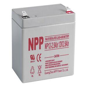 NPP 12V 2.9Ah 12Volt SLA Rechargeable Battery Replace ES2.9-12 PC2.9-12L UB1229T