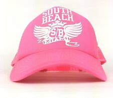 South Beach Miami SB Florida Hot Pink Mesh Trucker Snapback Adult OSFA Poly