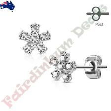 Pair Of 316L Surgical Steel Stud Earrings with 6 Clear CZ Gem Flower
