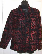 Coldwater Creek Jacket XS Womens  Damask  Burgundy and  Black  Button Front