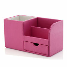 Leather Desktop Deco Organizer Pen Pencil Holder Remote Control Storage Box Pink