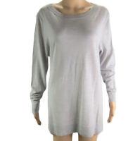 Women's Sweater Charter Club Scoop Neck Merino Wool Sweater XL Gray