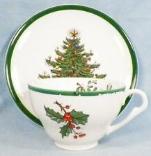 Vintage Christmas Tree Cup & Saucer # 2  Plummer Ltd New York AS IS COND Pretty